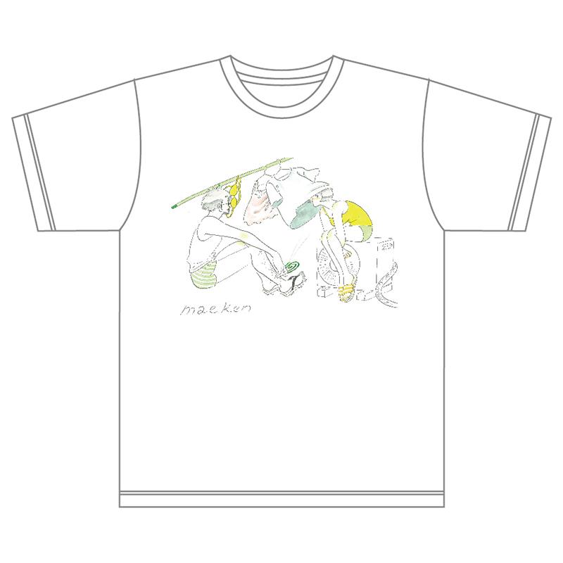 たなかみさきイラストtシャツ 洗濯 白 前野健太maeno Kenta