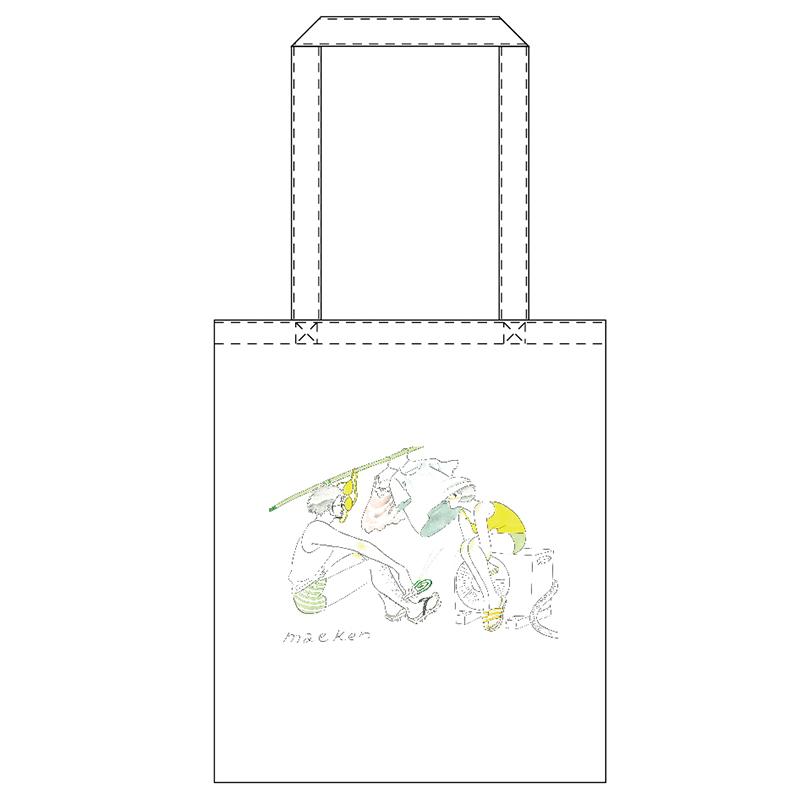 たなかみさきイラストトートバッグ 洗濯 前野健太maeno Kenta